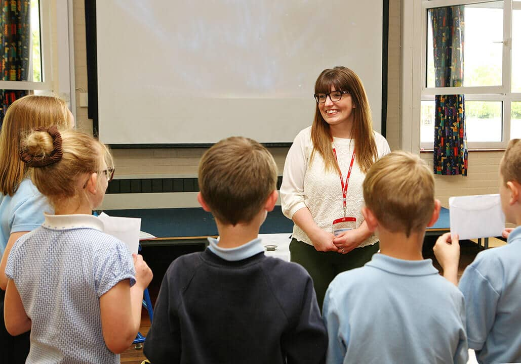 Amy Mee, HR Manager, meeting primary school pupils at Bretherton C of E Primary School where she held a workshop and competition for the pupils to design their own bag of pet food, and then took them on a tour of our Manufacturing facilities at Plocks Farm.